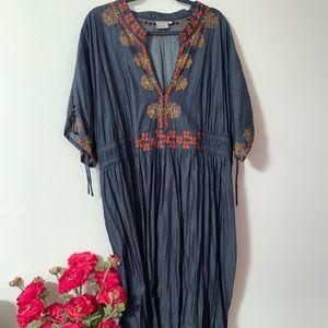 Eshakti chambray maxi dress, 4X